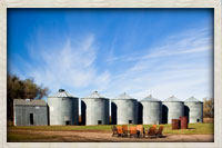 Old grain silos on the west side of the lodge